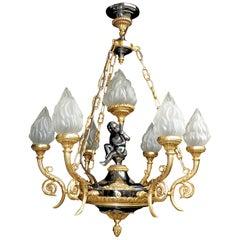 Französisches Reich Engel Patiniert und Vergoldete Bronze 7-Lichter Putten Fackel Leuchter