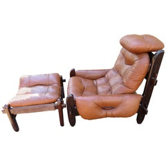 Fabulous Brazilian Rosewood Jean Gillon Lounge Chair and Ottoman for Probel