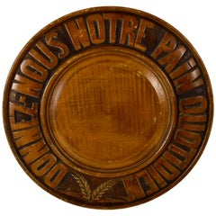 Rustic Country French Hand Carved Wood Motto & Wheat Sheaves Bread Board
