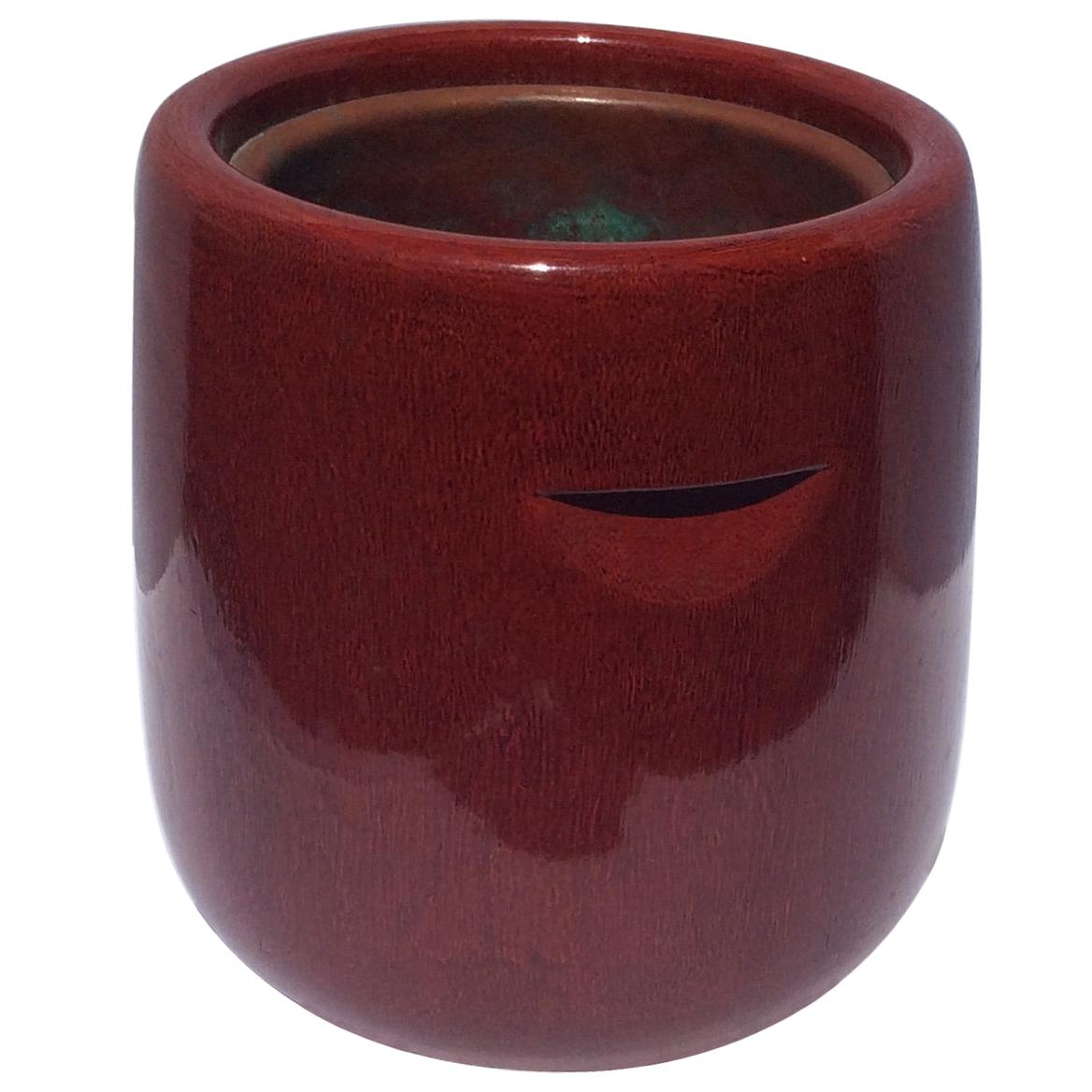 Meiji Era Japanese Red Lacquered Brazier and Copper Liner