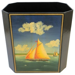 Nautical Black and Gold Wastebasket or Trash Can