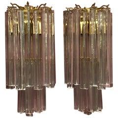 Paar von Murano Glas Leuchter von Venini, Italien, ca. 1960er Jahre