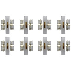 Eight Midcentury Wall Lights with Structured Glass and Brass, Europe 1970s