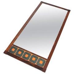 Danish Modern Midcentury Long Rosewood Mirror with Tile