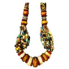 Huge Handmade Antique Moroccan Berber Necklace, Amber Copal, Shells, Gemstones