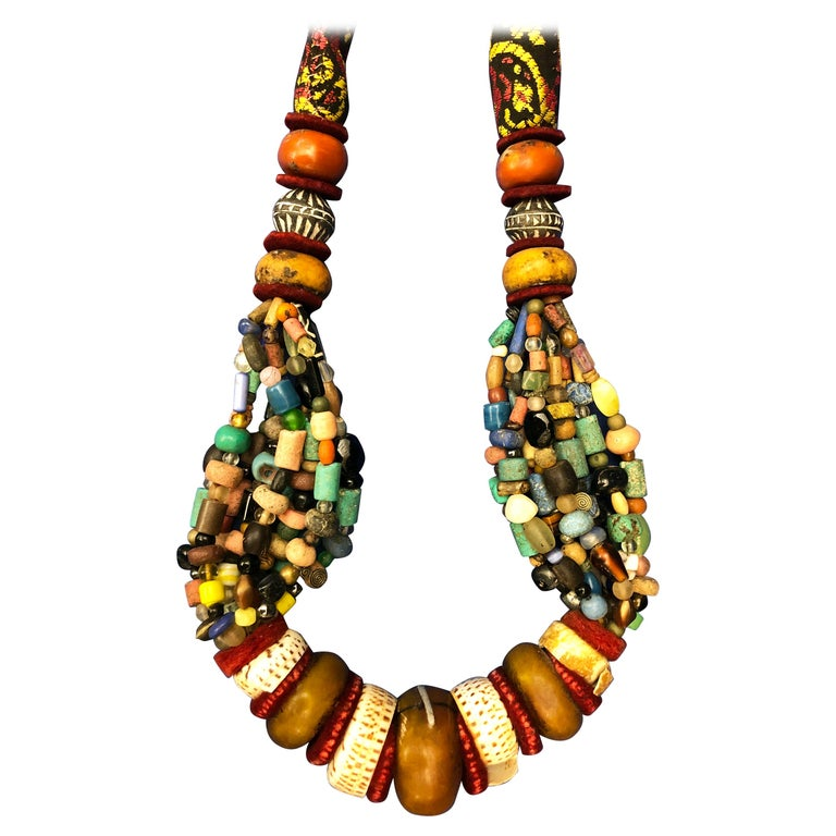 Huge Handmade Antique Moroccan Berber Necklace, Amber Copal, Shells, Gemstones For Sale