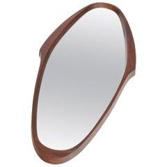 Italian Modern Midcentury Walnut Oval Wall Mirror