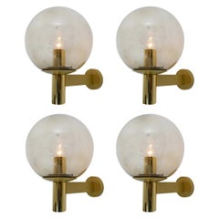Set of Four Wall Lights with Smoked Glass Globe and Brass by Glashütte Limburg