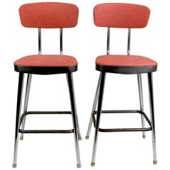 Pair of Midcentury Chrome and Vinyl Counter Height Stools