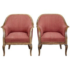 Pair of Early 20th Century Scandinavian Birch Armchairs