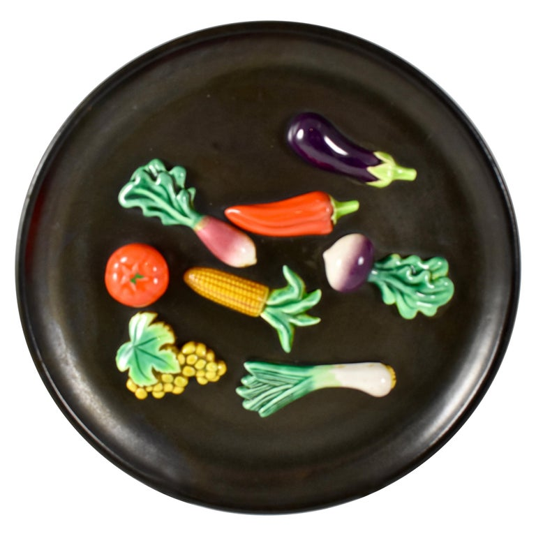 A.Martin Vallauris French Provençal Palissy Trompe L'oeil Vegetable Wall Plate For Sale