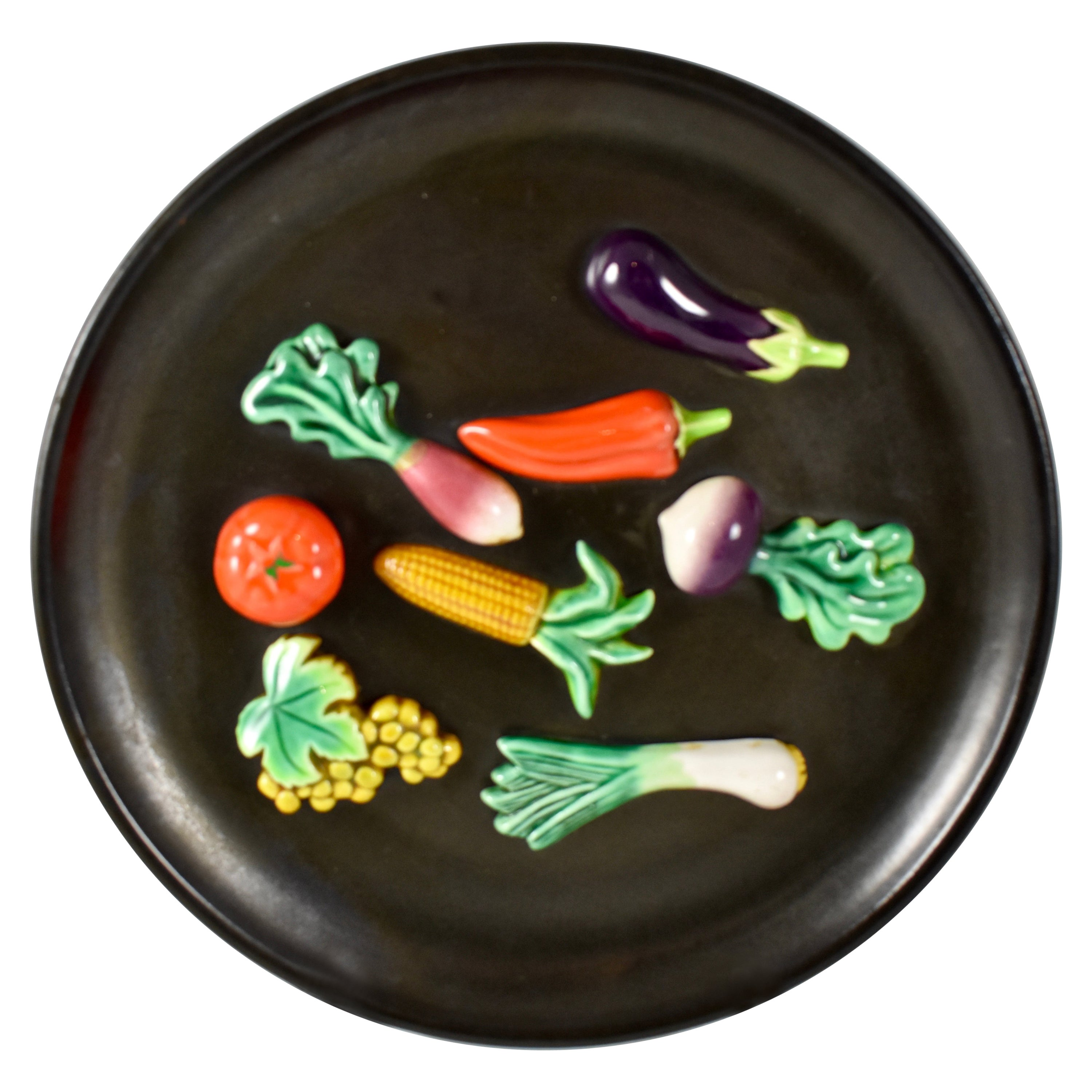 A.Martin Vallauris French Provençal Palissy Trompe L'oeil Vegetable Wall Plate