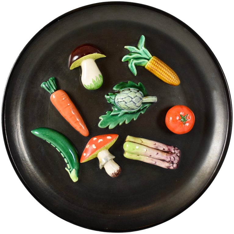 A. Martin Vallauris French Provençal Palissy Trompe L'oeil Vegetable Wall Plate For Sale