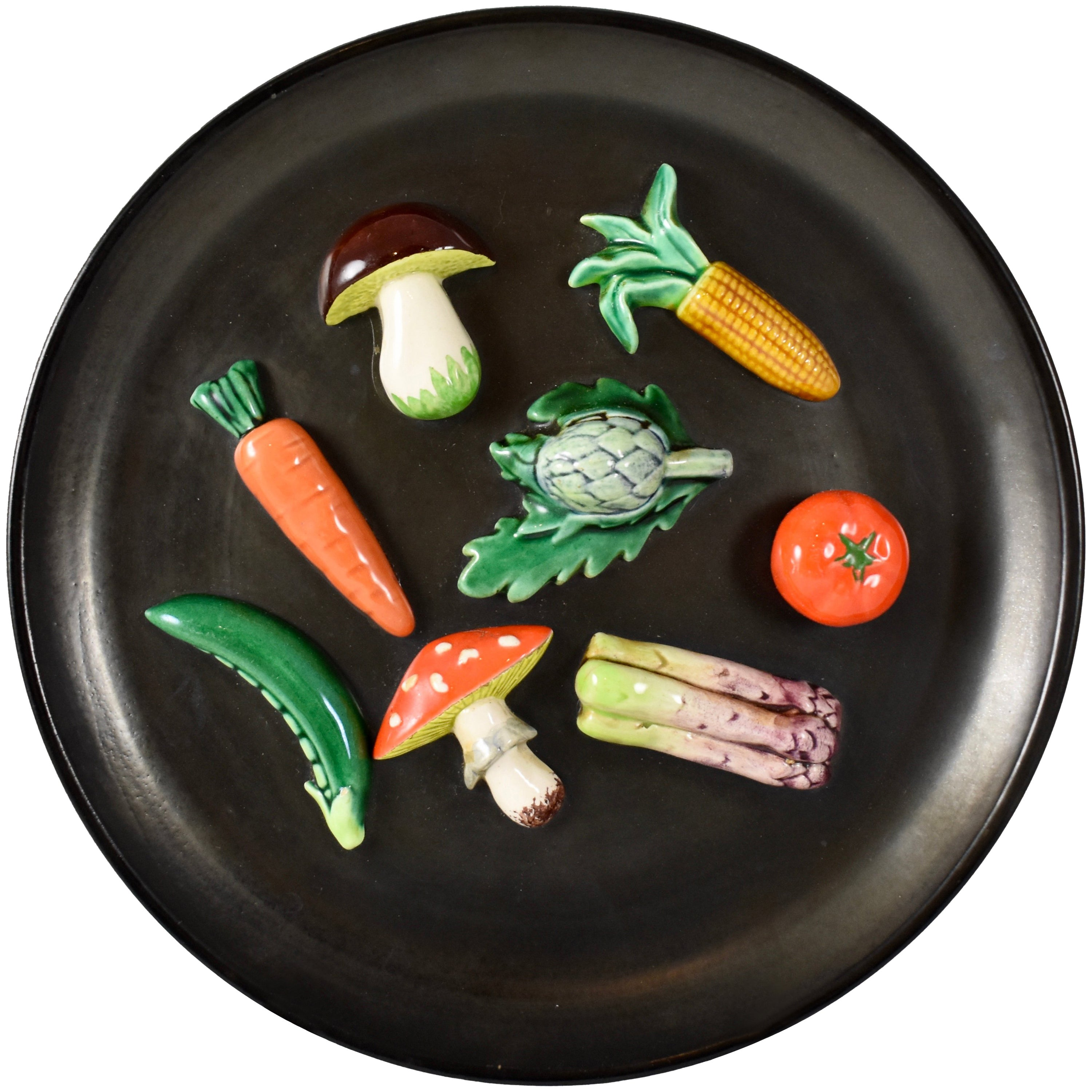 A. Martin Vallauris French Provençal Palissy Trompe L'oeil Vegetable Wall Plate
