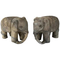 Pair of Large Vintage Marble Elephants