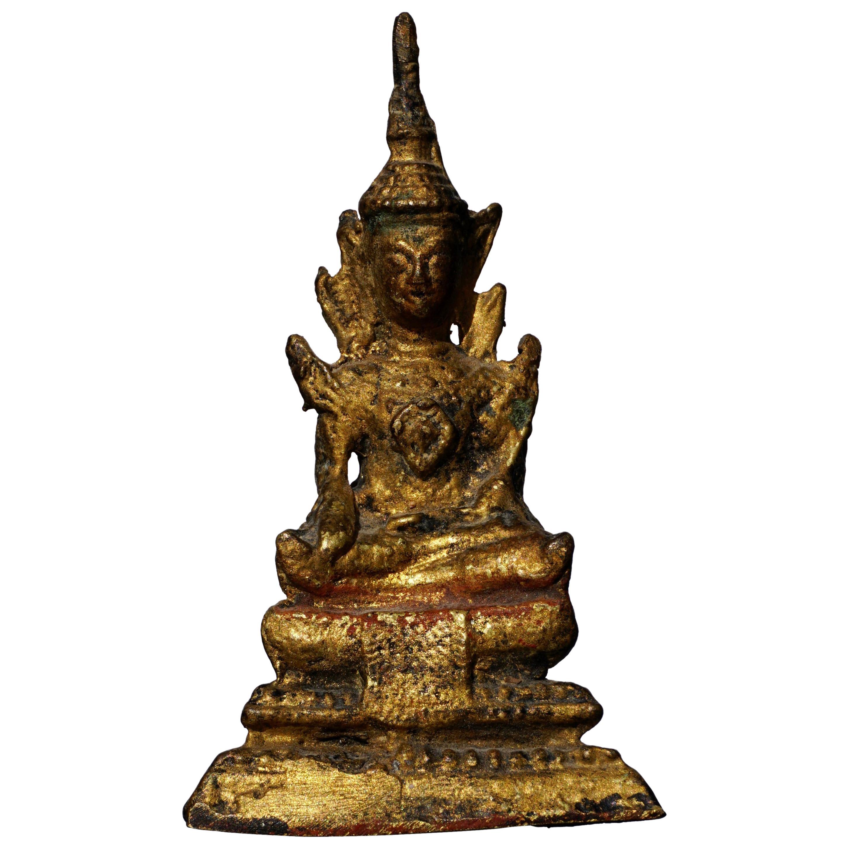 18th Century Thai Gilt Bronze Buddha Statue