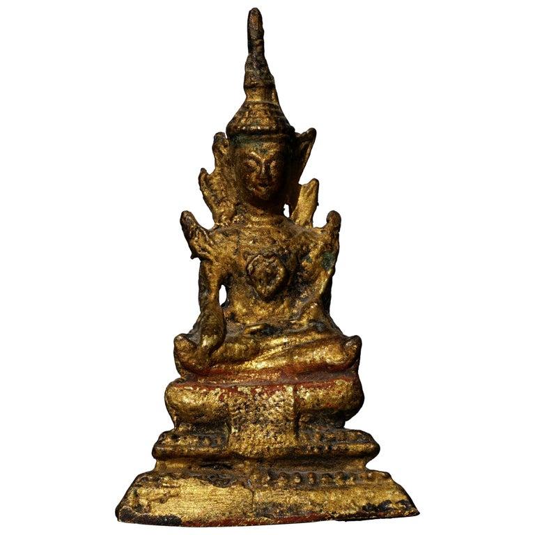18th Century Thai Gilt Bronze Buddha Statue For Sale