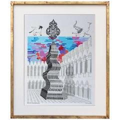 Pedro Friedeberg Painting Obelisco Irresponsable