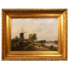 19th Century Oil on Canvas Antique Dutch Painting Landscape with Characters