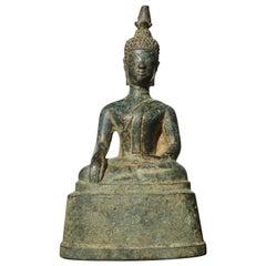 15th Century Thai Ayutthaya Verdigris Bronze Buddha