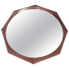 Italian Modern Midcentury Walnut Octagonal Wall Mirror