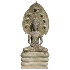 19th Century Khmer Bronze Buddha on Naga Throne