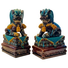 Extraordinary Pair of Chinese Foo Dogs Glazed in Turquoise and Brown