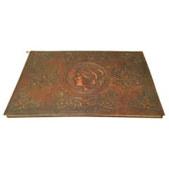 19th Century Italian Tooled Leather Desk Blotter