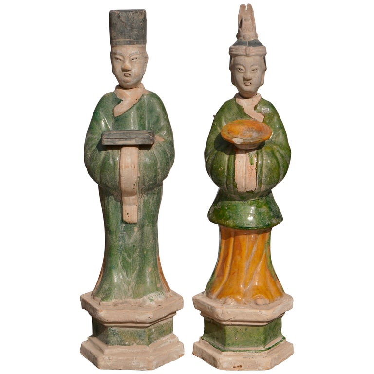 Large Ming Dynasty Terracotta Tomb Procession Attendees For Sale