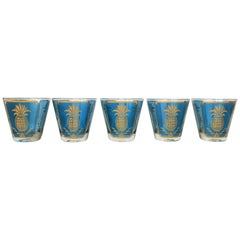 Set of 5 Midcentury Blue and Gold Rocks Glasses with Pineapple Design