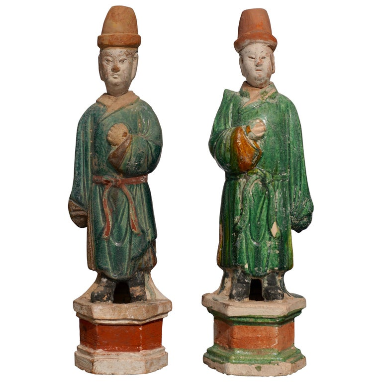 Pair of Ming Dynasty Terracotta Tomb Dignitaries For Sale