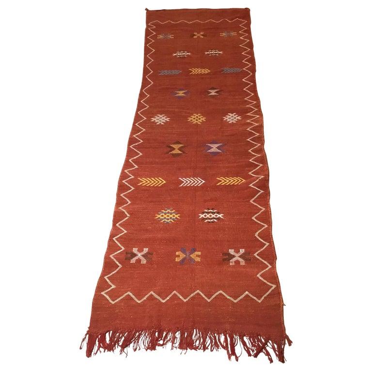 Moroccan Cactus Silk Flat-Weave Kilim Runner For Sale