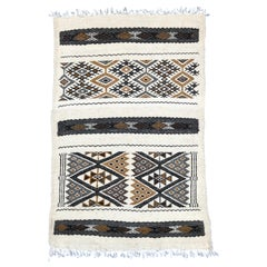 Hand-Loomed Berber Wool Accent Rug from Algeria, Geometric Beige and Cream