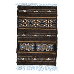 Hand-Loomed Berber Wool Accent Rug from Algeria, Geometric Brown and Tan