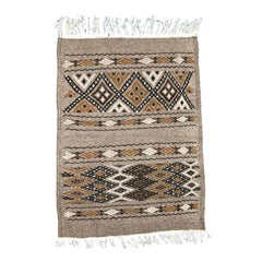 Hand-Loomed Berber Wool Tribal Accent Rug, Geometric Tan and Brown, 1.4' x 2.7'