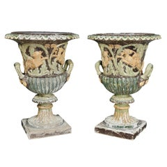 Pair of European Carved and Painted Wood Campagna Form Urns