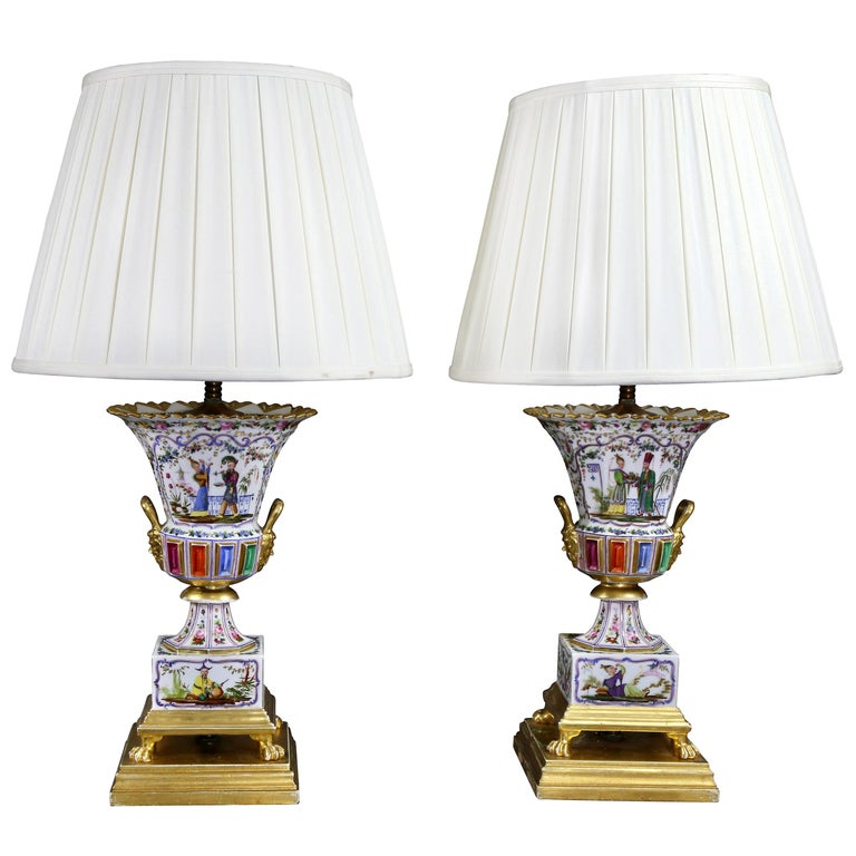 Pair of Jacob Petit Porcelain Vases Mounted as Lamps For Sale