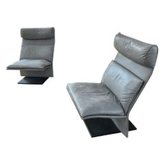 Rare Pair of Postmodern Italian Leather Chairs by Saporiti