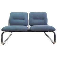 Tubular Chrome and Microfiber 2-Seat Loveseat