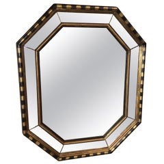 Vintage Hollywood Regency Style Octagonal Mirror with Stripes by Chapman