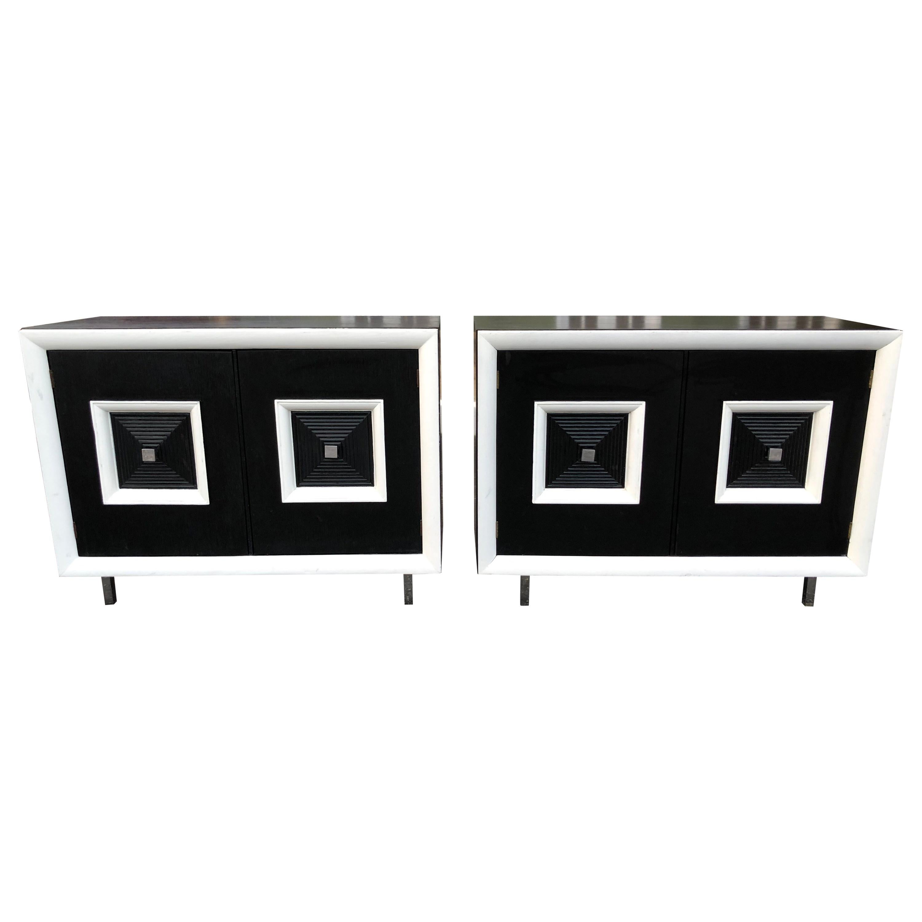 Pair of Matching Black and White Hollywood Regency Cabinets