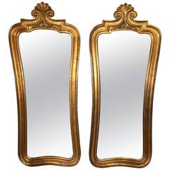 Pair of Hollywood Regency Gilt Mirrors