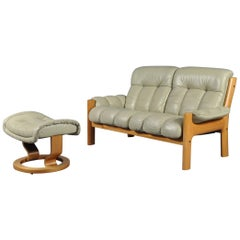 Ekornes Stressless Montana Solid Teak Loveseat Sofa by J.E. Ekornes, Norway
