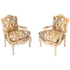J.-B. Tilliard, Pair of A La Reine Louis XV Armchairs in Cream Lacquer, 1950s