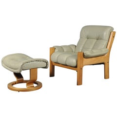 Montana Leather Lounge Chair and Ottoman by J.E. Ekornes, Norway, circa 1970s