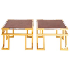 Guy Lefevre, Pair of Giltbrass, Plexiglas and Leather End Tables, circa 1970