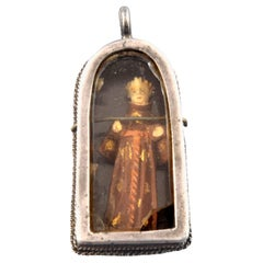 Devotional Pendant Silver, Bone, Glass, Textile, 17th Century