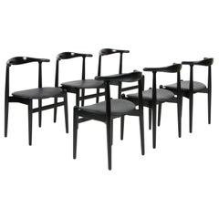 Hans J. Wegner Set of Six Dining Chairs, Model 1936 Black Leather