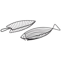 Pair of Fish Bowls in Wire