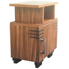 Art Deco Side Cabinet or Nightstand with Ebonized Details and Burl Walnut
